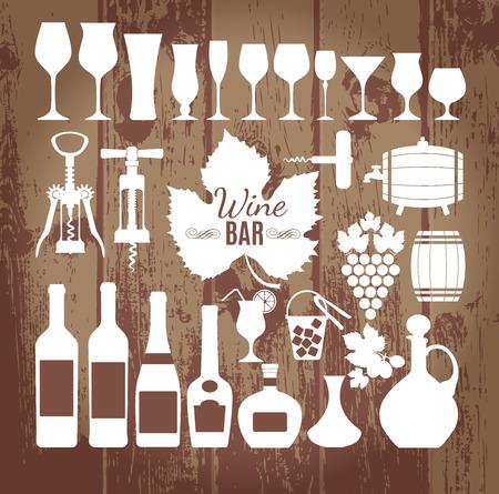 ワインのアイコンのデザイン セット。ベクトル ストック イラスト。
