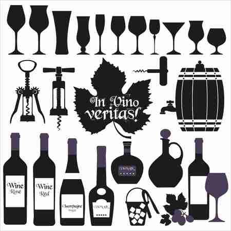 botella de licor: Iconos Set de vino de dise�o. Vector de la ilustraci�n. Vectores
