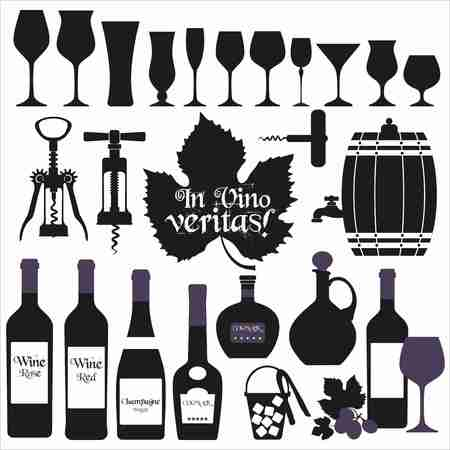 corkscrew: Wine icons design set. Vector stock illustration.