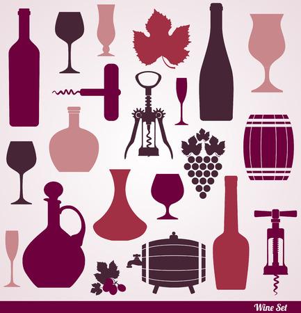 Wijn iconen ontwerp set. Vector stock illustratie.