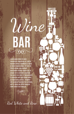 glass with red wine: Wine menu on wood texture Illustration