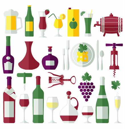 grape leaf: Wine flat icons set. Design element. Illustration