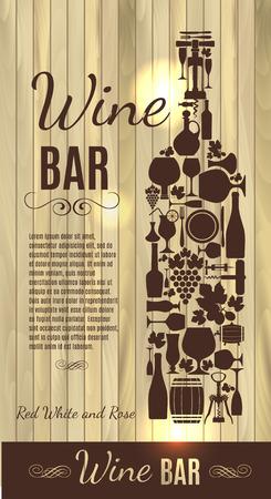 glas sekt: Weinkarte auf Holzstruktur Illustration