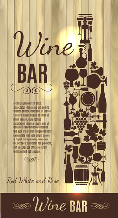 cellar: Wine menu on wood texture Illustration