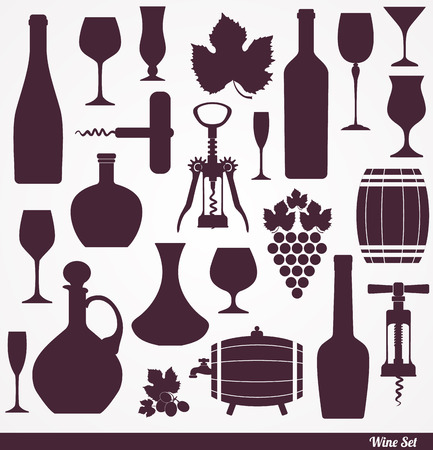 red wine glasses: Wine icons design set. Vector stock illustration.