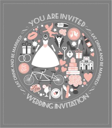 Wedding invitation card. Vector wedding design background Vector