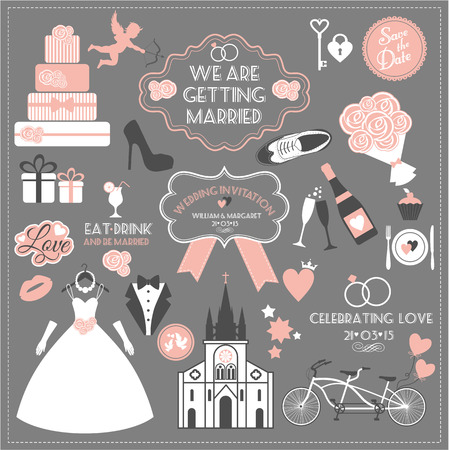bride and groom illustration: Wedding set. Illustration