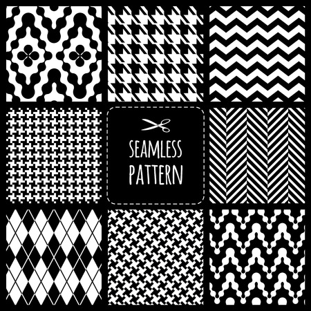 Seamless set fabric pattern Illustration