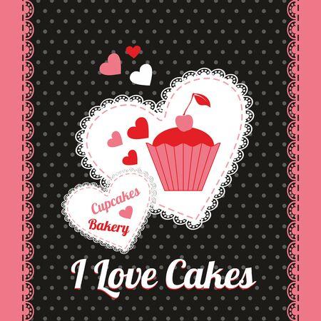 Bakery and sweet illustration. Cake design card.