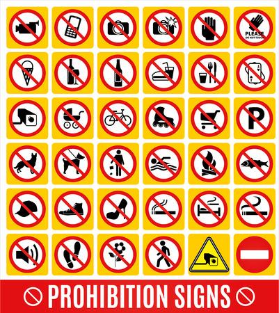 señales de seguridad: Ningún conjunto symbol.Prohibition set simbolo. Conjunto de iconos vectoriales.