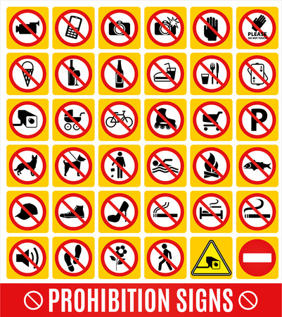 health dangers: No set symbol.Prohibition set symbol. Vector icon set.