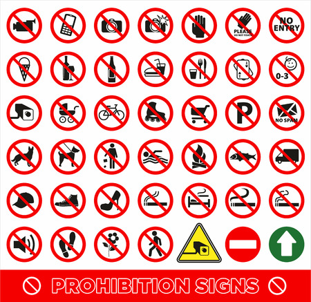 ban sign: No set symbol.Prohibition set symbol. Vector icon set.