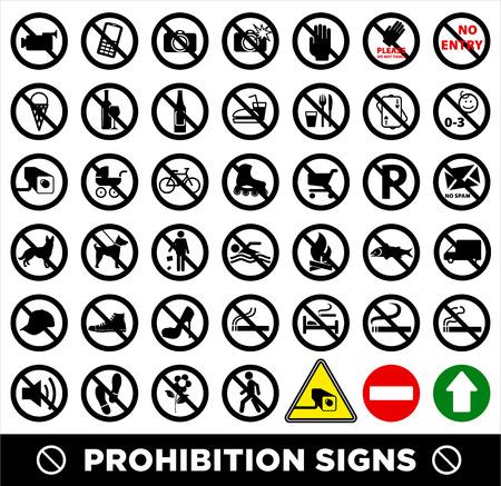 no photo: No set symbol.Prohibition set symbol. Vector icon set.