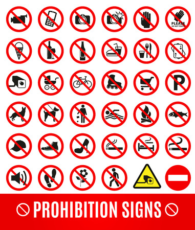 calzado de seguridad: Ningún conjunto symbol.Prohibition set simbolo. Conjunto de iconos vectoriales.