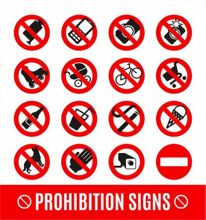 no icon: No set symbol.Prohibition set symbol. Vector icon set.