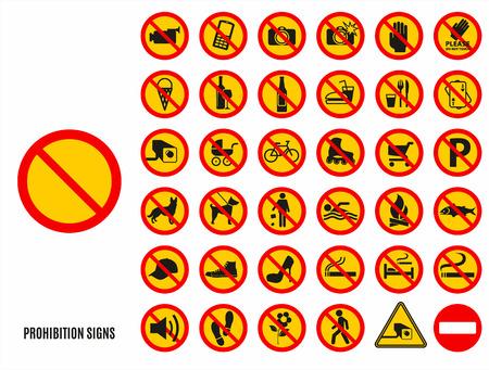 safety shoes: No set symbol.Prohibition set symbol. Vector icon set.