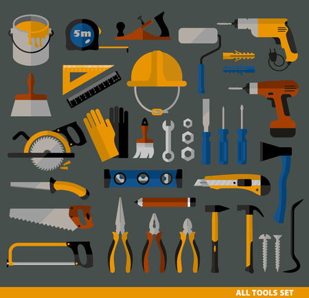 power tools: Buildings tools icons set. Flat design symbols.