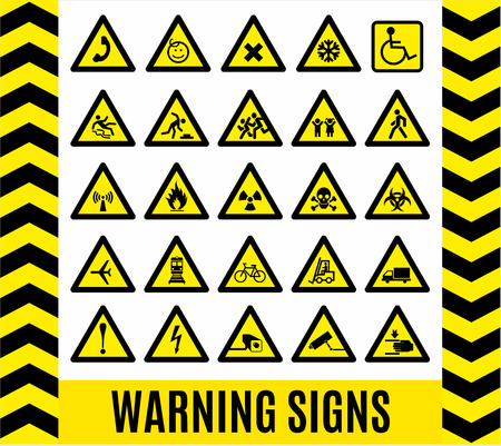 Warning signs set. Caution background.