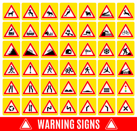 rockfall: Warning sign symbol. Set design icons element.