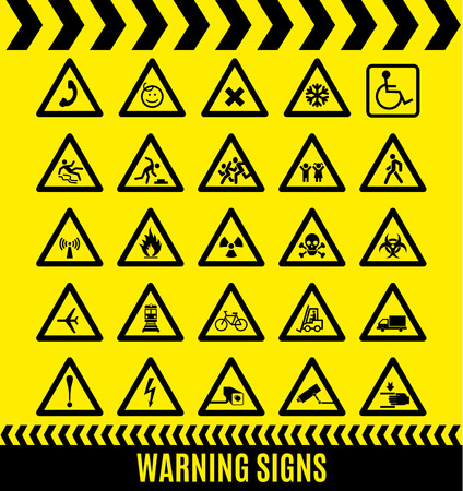 sign board: Warning signs set. Caution background.
