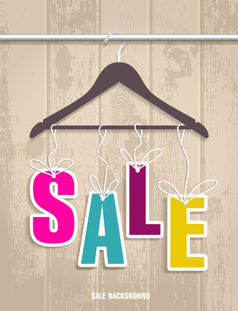 clothes hanger: Sale banner decoration for clothes. Vector illulstration of shopping background.