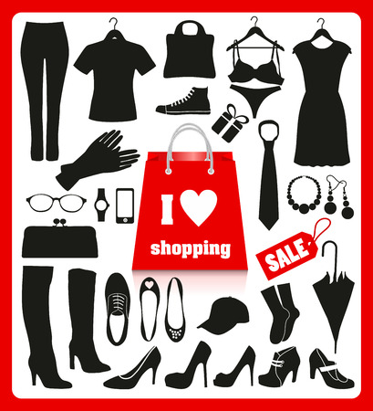shoping: Shoping background set for clothes. Icons design.