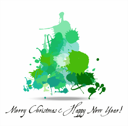 Tree blots christmas decoration. New year background. Vector