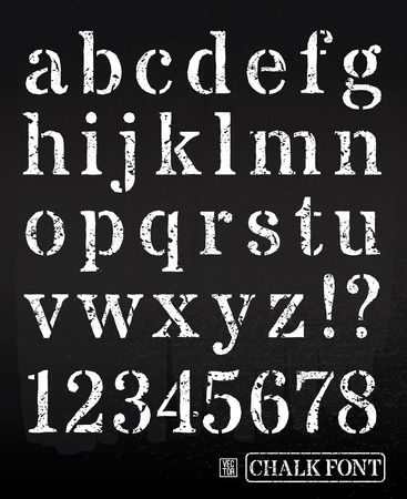 Vector illustration of chalked alphabet. Vector font. Vector