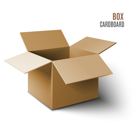 Cardboard box icon. Vector 3d model of box. Çizim