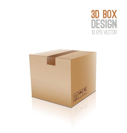 closed box: Cardboard vector box.Closed box icon 3d.