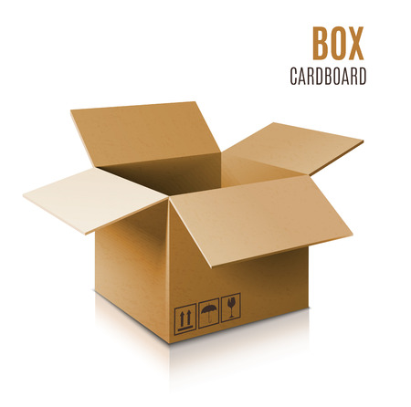 Cardboard box icon. Vector 3d model of box. Иллюстрация