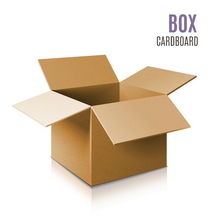 Cardboard box icon. Vector 3d model of box. Ilustração