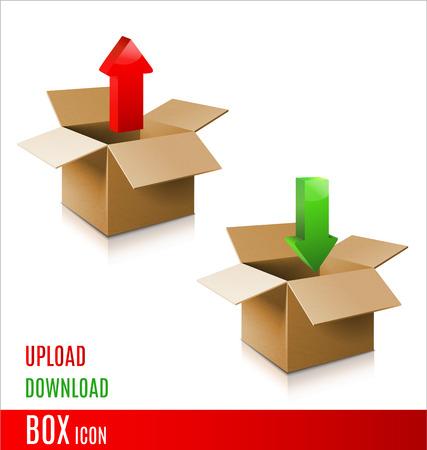 Cardboard box icon. Vector 3d model of box. Vector