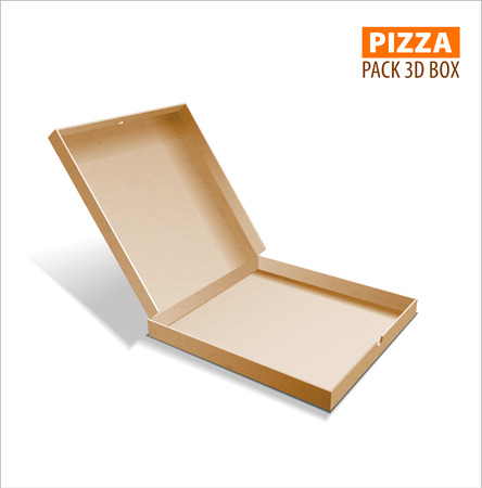 corrugated: Pizza box packing. 3D boxicon  illustration.