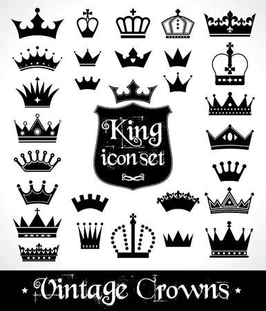 corona reina: Coronas establecen. Diseño plano. Ilustración vectorial de iconos.