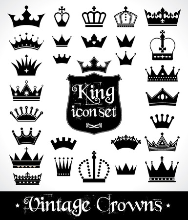 crown king: Crowns set . Flat design. Vector illustration of icons.