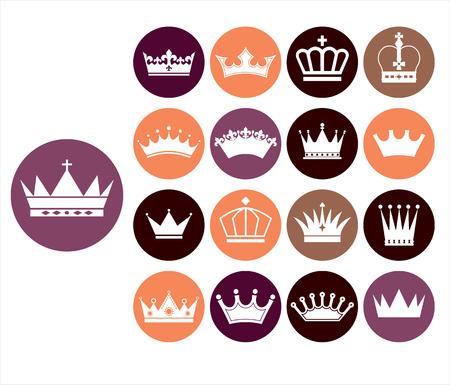 queen silhouette: Crowns vintage set. Illustration