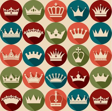 corona reina: Seamlees patrón coronas Vectores