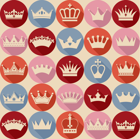 corona reina: Seamlees patr�n coronas Vectores