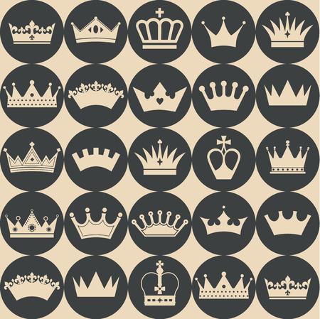 corona rey: Patrón de coronas sin costura Vectores