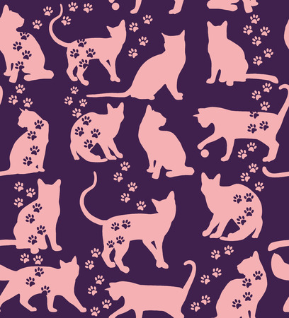 Seamless pattern of animals. Cats pattern on blue. Vector
