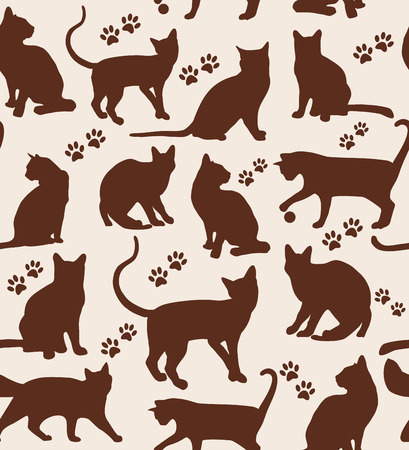 Seamless pattern of animals. Cats pattern on beige. Vector