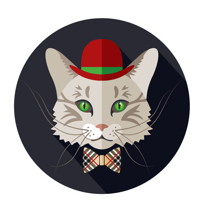 stovepipe hat: Vector animal, portrait of cat, vintage look, cat dressed in retro style