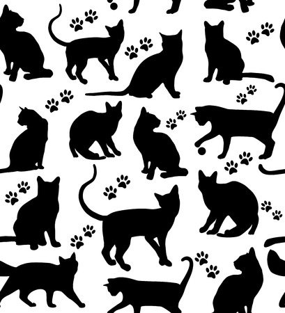 black and white image drawing: Seamless pattern of animals. Cats pattern on white.