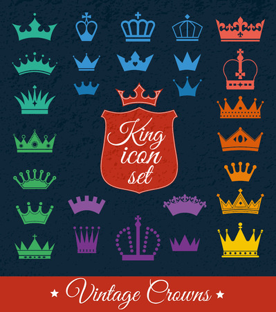 queen silhouette: Crowns set . Flat design. Vector illustration of icons.