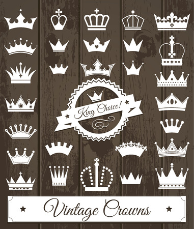 king and queen: Crowns set . Flat design. Vector illustration of icons on wood.