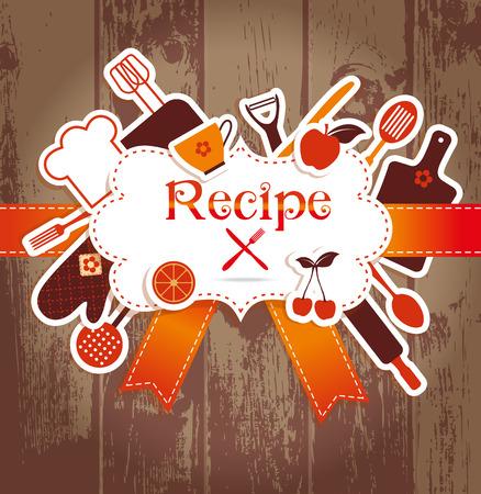 chef cocinando: Ilustraci�n receta. Fondo de la cocina. Marco para recires. Vectores