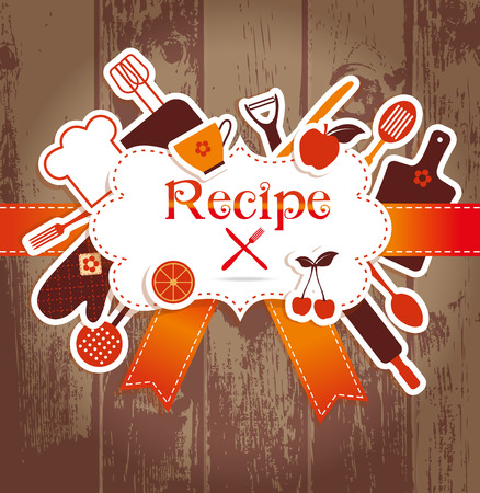 cooking chef: Recipe illustration. Kitchen background. Frame for recires.