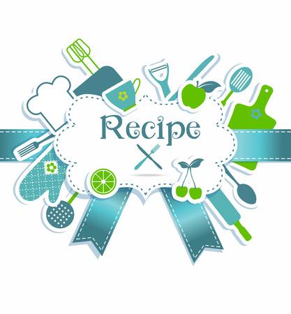 Recipe illustration. Kitchen background. Frame for recires.