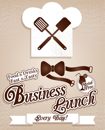 business like: Business lunch.Menu.Chef,kitchen,cooking. Vector.